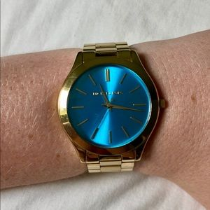 "MICHAEL KORS ""Slim Runway"" Aqua Face Gold Watch"